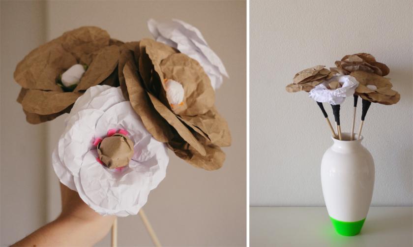 Tutorial diy para aprender a realizar flores con papel craft - Como hacer jarrones de papel ...
