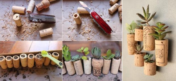 Reciclar corchos para hacer maceteros