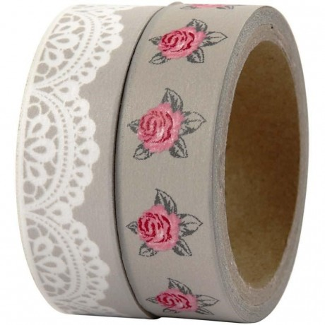 Washi tape rosas y blondas comunión