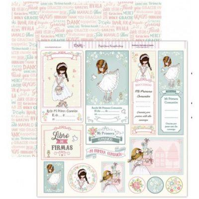 Papel de scrapbook primera comunión recordatorios niña