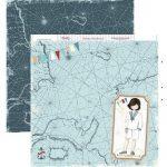 Papel de scrapbook niño comunión traje de marinero y mapa