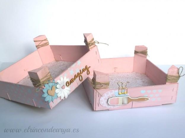 Cajas de fresa recicladas con decoupage