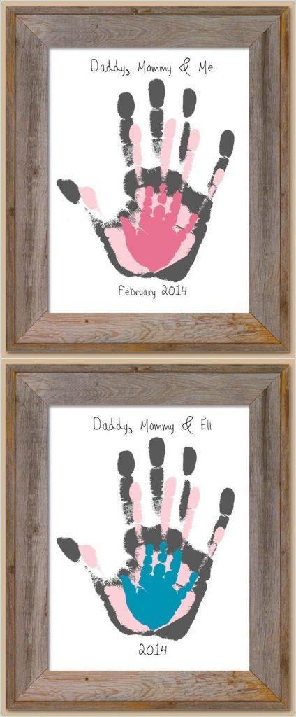 Ideas para cuadros DIY personalizados: con huellas de manos