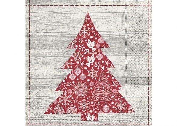 Servilleta para decoupage arbol de Navidad rojo