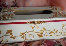 Decoración de una caja pañuelos con stencil y pan de oro